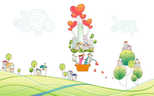 Cartoon Animated Wallpapers - bestscreenwallpaper.com - balloon in village