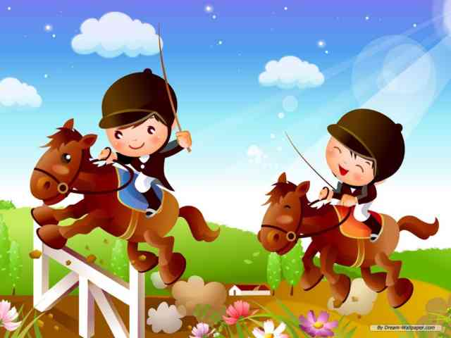 Cartoon Animated Wallpapers - bestscreenwallpaper.com - little kid with horse