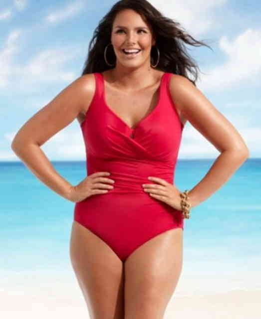 plus size swimsuits - red