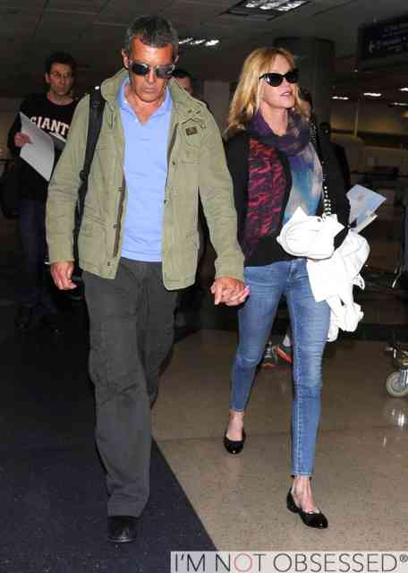 51357194 Couple Antonio Banderas and Melanie Griffith arriving on a