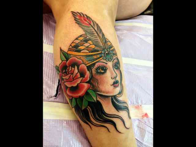 American Gypsy Tattoo with Crazy Indian Girl