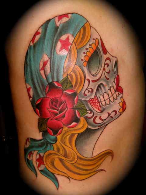 American Gypsy Tattoo with Crazy Skull Face