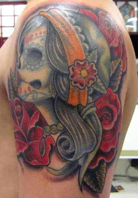 American Gypsy Tattoo with Skull