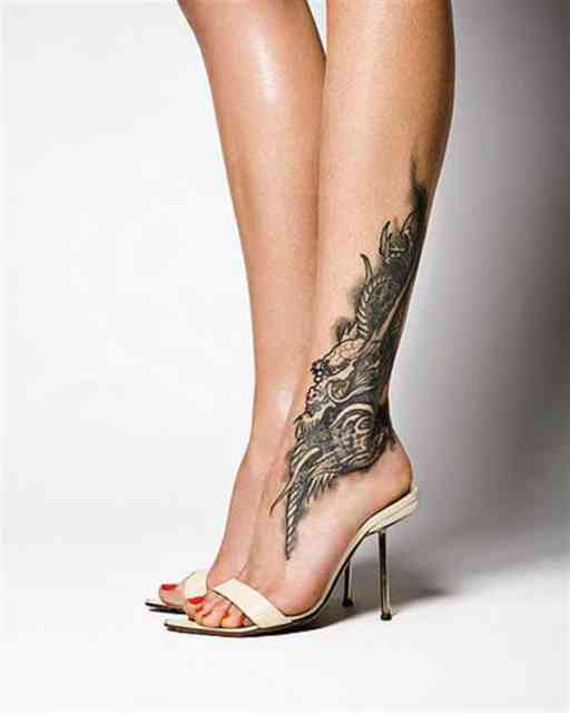 Hot Tattoo Place on Girls |Cool Tattoo on Leg and Feet