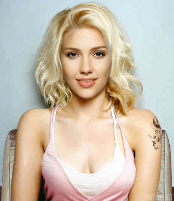 Scarlett Johansson Blond Hair & Tattoo