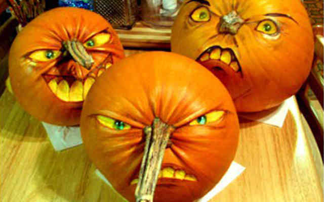 3 Faces Pumpkin Carving Ideas Photos