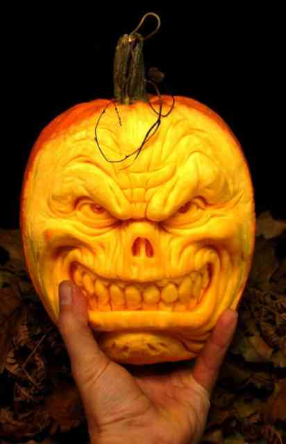 Human Face Pumpkin Carving Ideas Photos