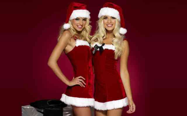 Hot Christmas Two Girls Wallpapers