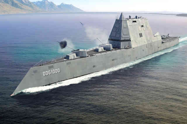 USA DDG 1000 Zumwalt -  Navy USS Zumwalt RailGuns Weapons