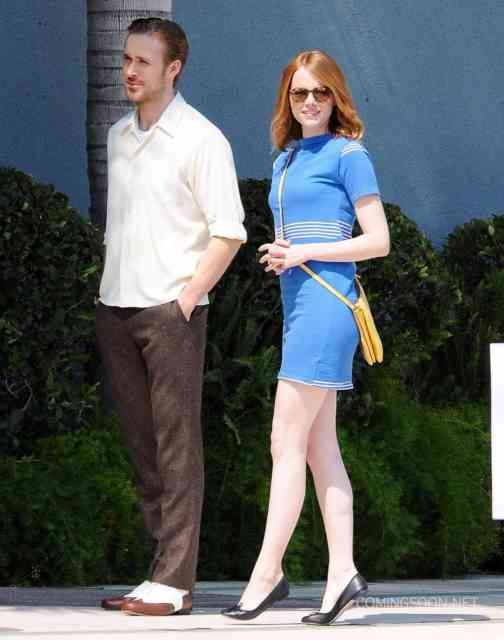 51827593 Actors Emma Stone and Ryan Gosling are seen filming scenes for the upcoming movie 'La La Land' in Los Angeles, California on August 19, 2015. FameFlynet, Inc - Beverly Hills, CA, USA - +1 (818) 307-4813