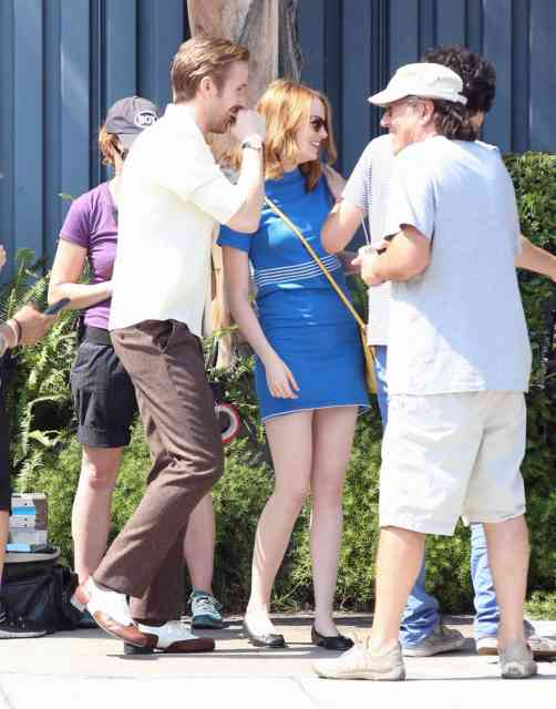 51827625 Actors Emma Stone and Ryan Gosling are seen filming scenes for the upcoming movie 'La La Land' in Los Angeles, California on August 19, 2015. FameFlynet, Inc - Beverly Hills, CA, USA - +1 (818) 307-4813
