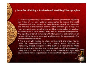 Benefits of Hiring a Wedding Photographer