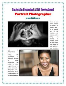 Factors In Becoming a NYC Professional Portrait Photographer