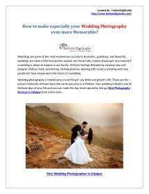 How to Make Especially Your Wedding Photography Even More Memorable?