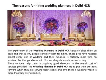 The Reasons For Hiring Wedding Planners in Delhi NCR
