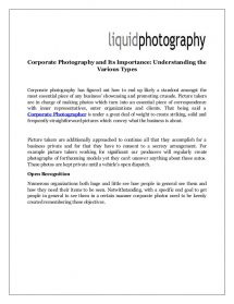 Understanding The Various Types of Corporate Photography And Its Importance